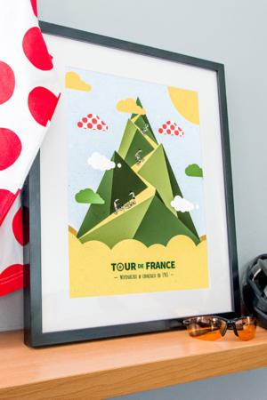 Plakat Tour de France - wspinaczka w chmurach